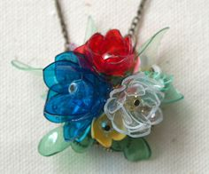 Recycled plastic bottle flower necklace