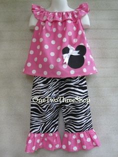 Custom Boutique Minnie Mouse  Boat Neck Top and Pants by amacim, $35.00