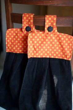 hanging halloween kitchen towels!