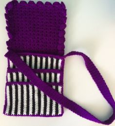 Purple Striped Crossbody Purse Pattern.  Check it out on Etsy.