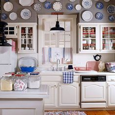 Transform your kitchen simply by replacing everyday necessities with ones befitting a patriotic color palette. Try the Riverstone Collection for neutrals and blue http://kristagreiner.store.willowhouse.com/search.aspx?keyword=riverstone and Cinnabar Collection for a brilliant red http://kristagreiner.store.willowhouse.com/search.aspx?keyword=cinnabar