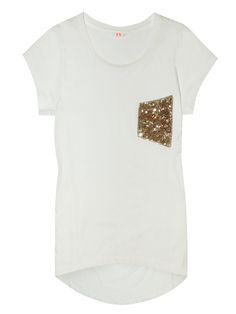 sequin white pocket t-shirt.