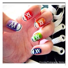 Lace up nail art #sneakers #shoes