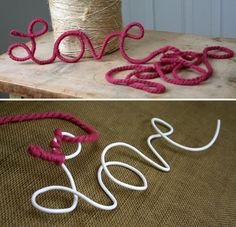 yarn + wire This would work good to add words to wreath wall art, gift, clothes hangers, letter, word art, wire hangers, yarn, craft ideas, kid