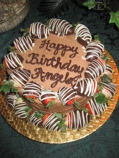 Chocolate covered strawberry birthday cake.