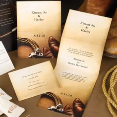 Gear Up – western theme wedding invitations – Let guests know exactly what kind of wedding celebration your planning with this Western, z-fold invitation