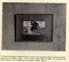 "The ""correct"" way to hang art: two parallel wires and matted to coordinate with wall color, according to an author in 1908."