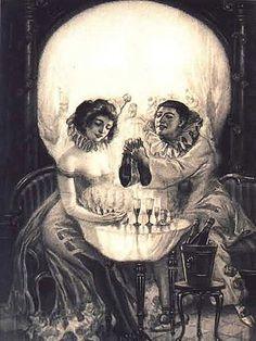 skulls, postcards, optical illusions, dates, dinners, art, carpets, people, eyes