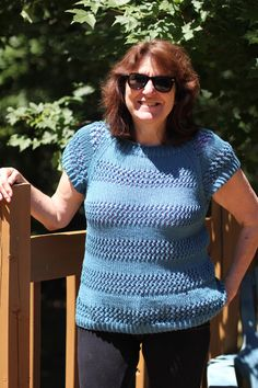 WORK+SHELTER Lace Striped Summer Sweater knitting pattern in Knit Picks Comfy Worsted.