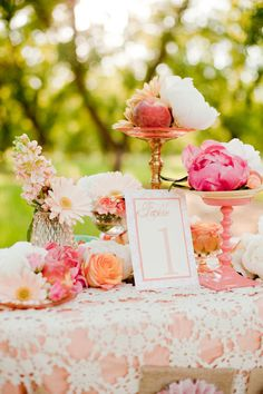 lace, tablecloth, wedding ideas, pink weddings, photography design, peach, floral designs, table numbers, flower