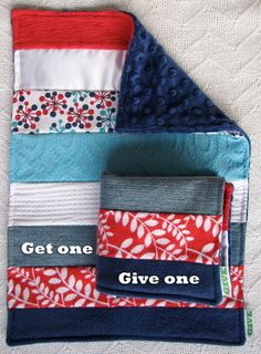 Baby Boy Sensory Security Blanket Lovey  - up at midnight - Get One, Give One to babies in Kenya, $30.00