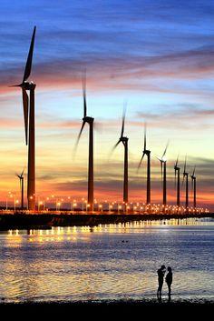 Wind turbines, Taichung, Taiwan