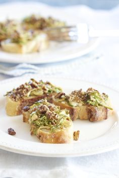 Maple Glazed Brussels Sprout Bruschetta Topped with Candied Pecans