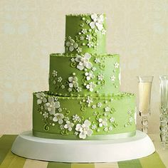 the spring-blossoming dogwood paired with green icing on oval layers ~ Jan Moon of Dreamcakes || photo: Gemma Comas and Jim Franco