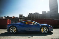 Ferrari 458 - in blue! Who would have thought that a blue Italia would look so fab? Wow...