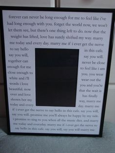 Marry Me by Train lyrics on 11x14 custom mat