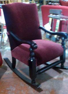 Mohair wood rocking chair