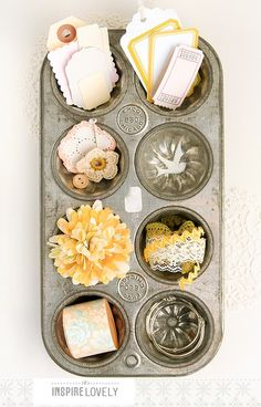 Vintage muffin tins make perfect storage containers, photographed by Inspire Lovely