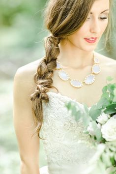 Loose side braid | Photo by Christopher Nolan Photography | Read more - http://www.100layercake.com/blog/?p=77804 #Rustic #garden #wedding