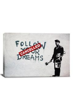Banksy Dreams Cancelled 18in x 12in Canvas Print