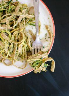 Pepita and Cilantro pesto with squash noodles