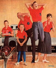 bowling ad, family