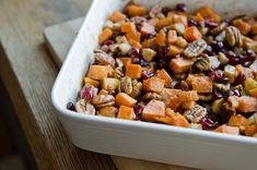 Roasted Sweet Potatoes with Apples + Cranberries