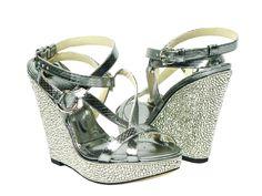 Dolce and Gabbana Metallic Silver Platform Crystal Wedges