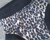M Leopard Fleece Soaker in Black with extra wet zone protection by Lagamorphlounge on Etsy. $8.00