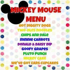 mickey mouse birthday menu