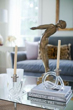 Sally Wheat is always changing up the décor in her gorgeous home clays, interior, coffee tables, candlesticks, vignett, candle holders, homes, salli wheat, bronze sculpture
