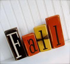 Fall Wood Blocks  Thanksgiving Wood Blocks Set by doubledutydecor,