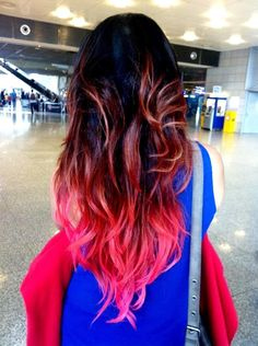 Red to pink ombré