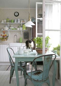 Nice fresh feel. kitchens, interior, open shelves, turquoise, kitchen tables, metal, chairs, colors, blue green