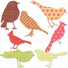Digital printable bird shapes