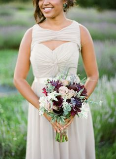 bouquet with deep purple, photo by Hunter Photographic http://ruffledblog.com/lavender-farm-elopement-shoot #weddingbouquet #flowers