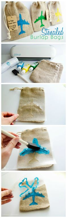 DIY stenciled burlap bags made with the Silhouette. How cute would these be for a party or baby shower?!