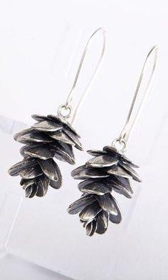 Silver Pinecone earrings