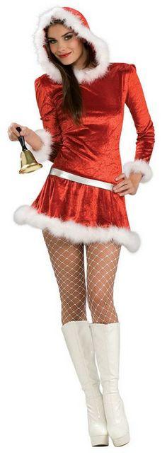 Santa women s xmas costume 38 58 long sleeve hooded red miss santa