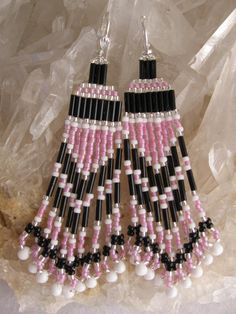 Seed Bead Earrings  Pink/Black/white by pattimacs on Etsy, $18.00