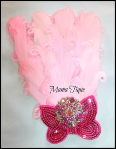 rhineston, butterfli bow, pink feather, sequin butterfli
