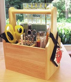 silverware tote (cutlery caddy / box / carrier) holds supplies, scissors, tools & notions on sewing table