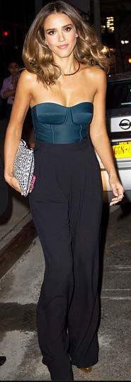 The effortlessly chic Jessica Alba wore Max Mara pants with a Chris Gelinas top and printed Saint Laurent clutch.