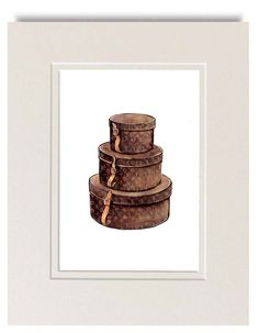 Watercolor Illustration, Louis Vuitton Vintage Round Hat Boxes, Brown Monogram Art Print. $10.00, via Etsy.