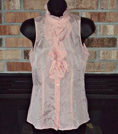 The Limited Womens Blouse Pink Button Down Ruffle Sleeveless Sheer Top Size XS. $22.00, via Etsy.