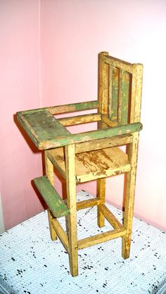 Vintage Toy Doll Large Wooden High Chair with Moveable Tray 1940's