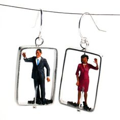 Barack And Michelle Earrings, $74, now featured on Fab.
