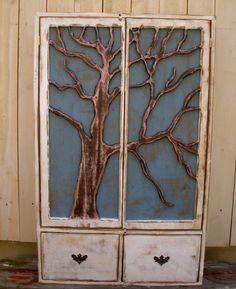 Rustic Furniture Shelf  Oak Tree Cabinet  by honeystreasures.