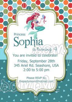 The Little Mermaid Birthday invitation JPG file printable