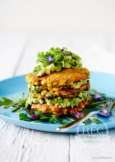 Corn Fritters with Avocado Salsa and Leafy Greens | Perfect for a relaxed brunch, these corn fritters are bursting with flavour and when combined with greens and avocado salsa they form a nourishing twist on an old classic. Gluten-free besan flour (made from chickpeas) has a higher protein content than other flours. The Real Food Kitchen Corn Fritters are a feast for the senses! | www.drlibby.com